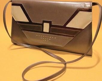 Vintage 80s Womens Handbag Crossover Purse Silver Gold Avant Garde Style
