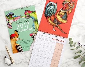 SALE! 2017 Birds in Hats Wall Calendar: 12 Fine Art Prints of birds in hats from around the world! Wall Planner/Calendar