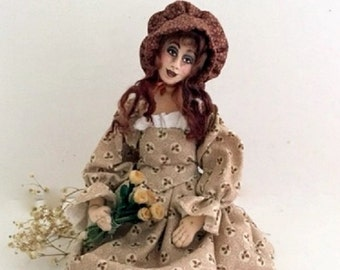 Prairie Rose cloth art doll posable wire armature OOAK unique gift white doll stand