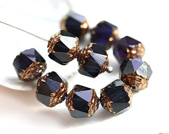 Dark Ink Blue cathedral beads, czech glass, golden ends, round, fire polished - 8mm - 15Pc - 2732
