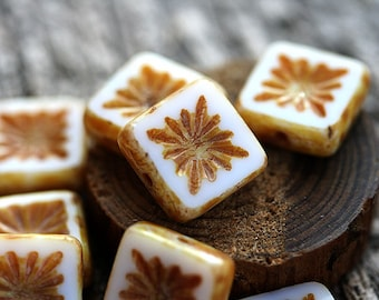 8pc Square beads, White Czech glass beads, picasso finish, table cut, carved squares - 10mm - 8Pc - 2795