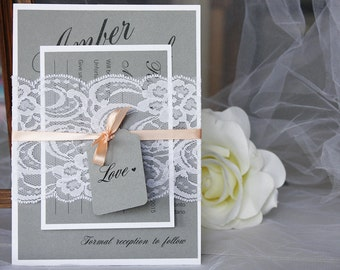 Grey and Peach Wedding Invitations, Lace Wedding Invitations, Classic Wedding, Vintage Wedding, Rustic Wedding, Grey and Peach Wedding