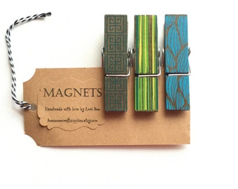 Painted Clothespin Magnets, Set of 3, Green, Teal, Blue Clothespins, Desk & Office Organizers, Magnetic Boards