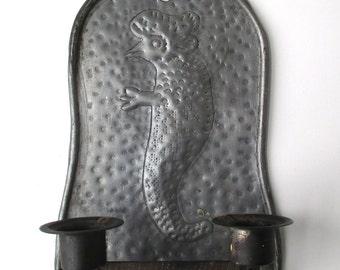 Antique Primitive Tin Candle Holder, Dual Wall Sconce, AAFA, Folk Art