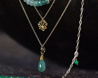 Emerald, Onyx and Lotus Layering Necklace Set - May Birthstone Necklace Set  - Set of Four Gold Layered Necklaces
