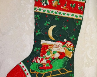 Vintage Christmas Stocking Quilted Santa Claus in Sleigh