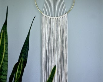 "Macrame Wall Hanging - 55"" Natural White Cotton Rope w/ 10"" Brass Ring - Sunburst - Boho Home, Nursery, Wedding Decor - MADE TO ORDER"