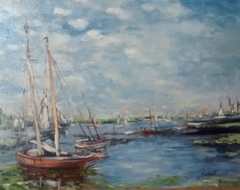 Harbor Scene, Ships in Harbor, Original Oil Painting on stretched linen, Framed Oil Painting, Oyster Schooners, Framed Oil Painting