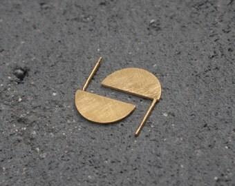 Half Circle Earrings , Flat Golden Studs , Geometric Post Earrings , Textured Earrings , Half Moon Earrings , Minimalist Studs , Semi Circle