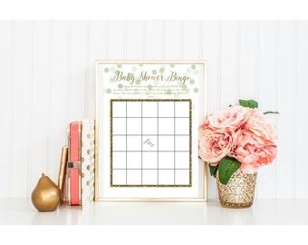 BABY shower printable bingo games activity gold glitter foil green olive mint dot calligraphy script cursive pdf jpg