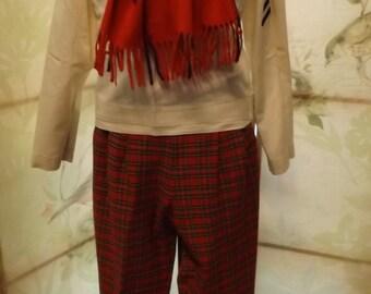 Vintage retro RED plaid stir up pants high waisted medium small 1970