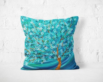 Teal Tree Throw Pillow - Teal & Turquoise Winter Morning Tree Decorative Pillow by Louise Mead - Available in Medium and Large Sizes