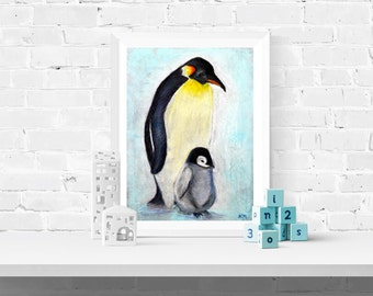 Penguins - Giclee Print of Original Pastel Drawing of Parent and Baby Penguin by Louise Mead