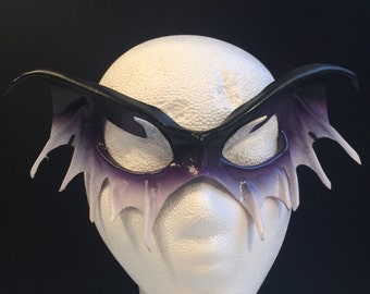 Vampire Masquerade Mask Vampire Cosplay Vampire Mask Black & Purple Leather Mask Halloween Mask Vampire Costume Fantasy mask LARP Dark Fairy