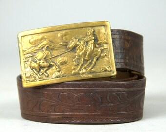 1950s Western Belt Cowboy Lasooing a Bull Brass Buckle Tooled Leather Ranch Hand Rockabilly Western Belt