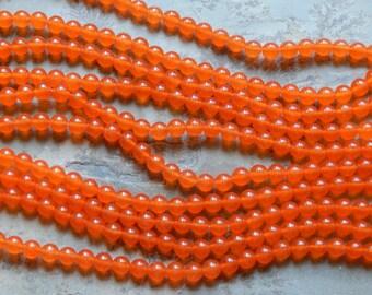 8mm Orange Malaysia Jade Round Polished Gemstone Beads, Half Strand (INDOC51)