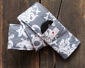 DSLR Camera Strap Cover- lens cap pocket and padding included- Grey and White Damask