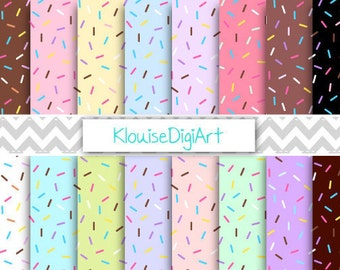 Chocolate, Vanilla, Mint and Strawberry Donut Sprinkles Printable Digital Paper Pack for Personal and Small Commercial Use (0037)
