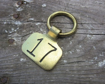 Cattle Tag Brass Metal #17 Tag Cow Bull Number 17 Tag Seventeen Vintage Animal Livestock Ranch Industrial Farm Charm Jewelry Craft Keychain