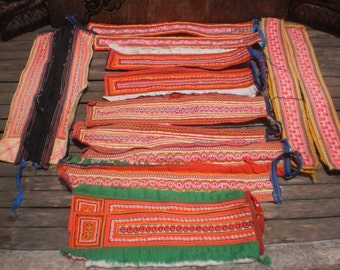 Tribal Textile Upcycled Supply Pieces 14pcs Small Strap