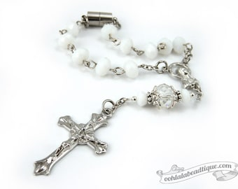 White Car Rosary auto rosaries rear view mirror rosary single decade rosaries gift catholic rosaries pocket rosary travel rosaries white