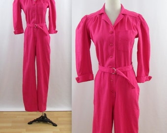 Pretty in Pink Jumpsuit - Vintage 1980s Women's Cotton One Piece Pantsuit in Medium by Sears