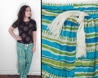 WATERCOLOR Stripe Harem Pants Handmade Drawstring One Size Turquoise + Lime