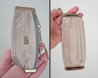 EEL Skin Key chain Coin Purse 1980s Gray + Gold Zipper Top Change Keeper