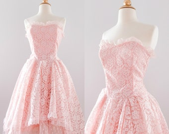 1980s Lace Pink Ruffle Prom Dress // 80s does 50s Strapless Tea Length Dress