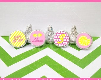 Lemonade Chocolate Kiss Stickers - Pink Lemonade Stickers - Pink and Yellow Candy Stickers - Digital & Shipped Available
