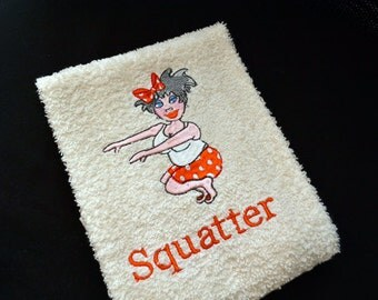 Custom Machine Embroidery Gym Accessory Hand Towel Whimsical Ladies - Squatters - Personalized ~ Made to Order