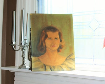 Vintage Portrait of Woman Painting On Canvas Board Circa 1950s