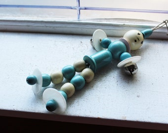 Vintage 1940s Baby Rattle Crib Dangler Toy Blue Wood and Plastic