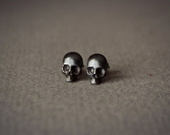 Gothic Skull Earrings Mens Jewelry Skull Skeleton Stud Earrings Biker Goth Punk Jewelry