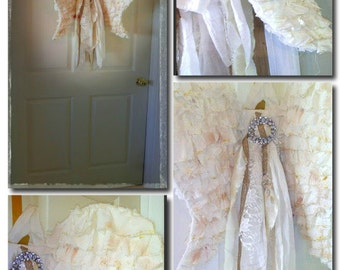 Large, Muslin, Tattered,Ruffle, Fabric, Door Angel Wings, Wall Hanging with Rhinestones, Satin and long Sash,Farmhouse chic, Cottage