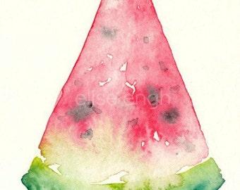 Watercolor Watermelon Painting, original art, 4x6, pink and green, watermelon slice, original watercolor, fruit painting, watercolor fruit