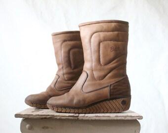 Vintage 70's Rustic Bastien Husky Leather Wedge Boots Sz 8.5/9