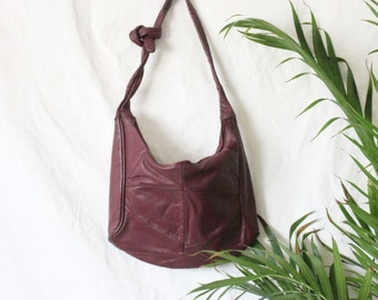 Vintage Burgundy Leather Handbag