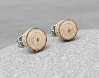 Small Birch Wood Stud Earrings - Wood Slice Post Earrings - Petite Birch Bark Earrings with Surgical Steel