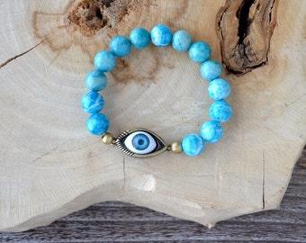 Evil Eye Bracelet - Blue Agate