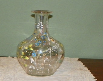 Ask for 30% off Antique Hobbs Glass CARAFE Decanter Hand painted enamel floral exquisite Large
