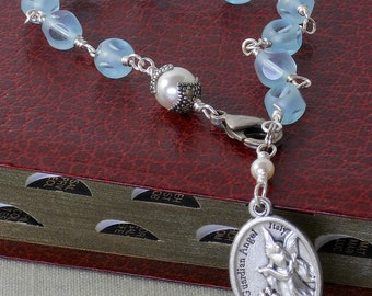 Aqua Faceted Guardian Angel Rosary Bracelet St. Christopher One Decade Rosary Rearview Mirror Car Rosary Czech Austrian Beads (AGASC-22515)