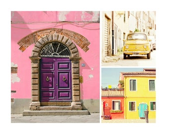 Italy Photo Set, Travel Photography, Colorful Home Decor, Burano, Old Door, Pink House, Set of 3 Prints, Collection, Wall Art, Fiat, Summer