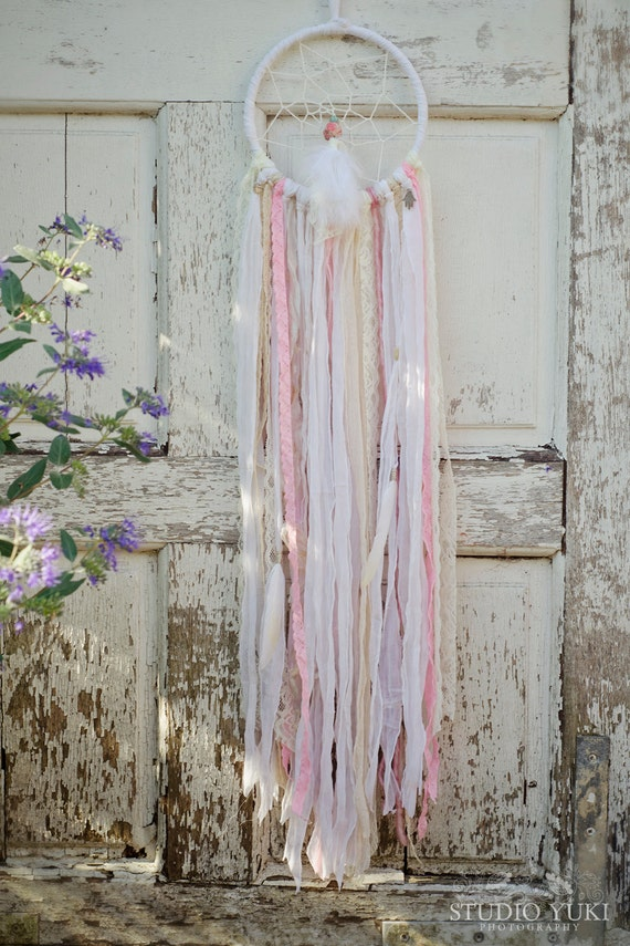 Pastel Dreamcatcher White Pink Nursery Decor Bohemian