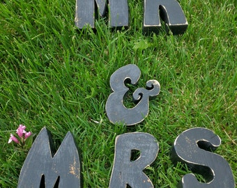 Mr. and Mrs. Wood Cutout  letters, block chunky, hand painted Black Rustic Wedding Decoration, shower Decor