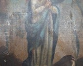 1800's Madonna Original Oil Painting on Canvas, Saint Mary, Antique Retablo Art