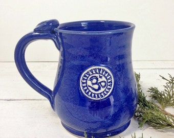 Om Coffee Mug, Indigo, Coffee Mug, 8oz 14oz 18oz