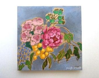 Modern floral bouquet painting original art flowers - A Bouquet for Shawna
