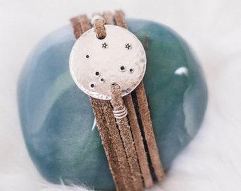 Libra constellation zodiac wrap bracelet. Personalized zodiac constellation bracelet. Libra gift. Personalized zodiac gift.Leather wrap. RTS