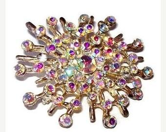 "Rhinestone Brooch Pin Aurora Borealis Snowflake Holidays Silver Metal 2"" Vintage"